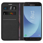 Leather Wallet Case & Card Pouch for Samsung Galaxy J5 Pro - Black